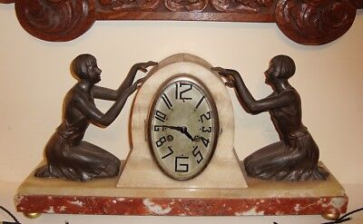 Lovely Big Fritz Marti French Art Deco Marble Spelter Lady Figure Mantel Clock