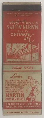 Vintage Martin Alleys Bowling Olympia, Washington Matchbook Cover