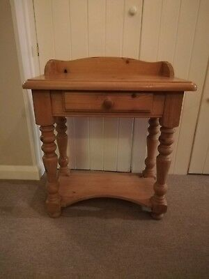 Victorian style Pine Side Table With Drawer and shelf