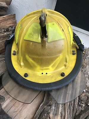 Cairns Traditional Fire Helmet 880 Adjustable Size Yellow Lightly USED