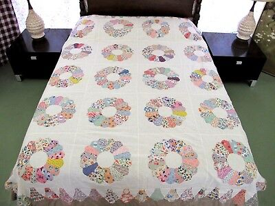 OUTSTANDING Vintage Feed Sack Applique Hand Sewn DRESDEN PLATE Quilt TOP