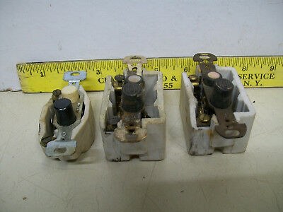 (3) Old Used Porcelain Push Button Light Switches