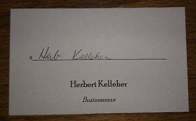 HERB KELLEHER Signed Autographed 3x5 Index Card CEO Southwest Airlines