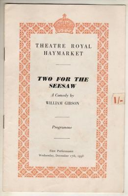 "Peter Finch & Gerry Jedd   ""Two For The Seesaw""    Playbill   London  1958"