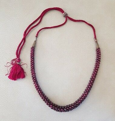 Antique Muslim Arabic Turkish Ottoman Persian BEADED NECKLACE Maroon Glass Beads