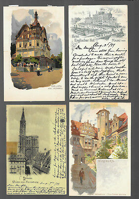 German  Postcars Vintage Lot Of 4 From 1899 -1902  #17