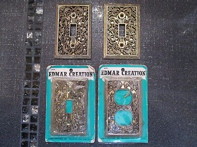 EDMAR Antique BRASS Ornate 3 Single Light Switch Plate +1 Outlet Cover VINTAGE