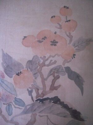 Vintage Signed Chinese Silk Screen Print Quince on Branches Veerhoff Galleries