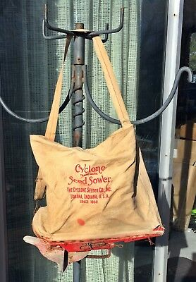 Vintage Cyclone Seeder Co Hand Crank Seed Sower Spreader w/Strap Urbana, IN