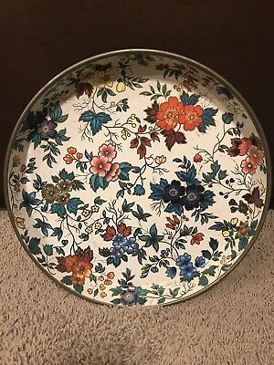 "Vintage Daher Decorated Ware Tin Metal 12 1/2"" Round Tray Flower Floral England"