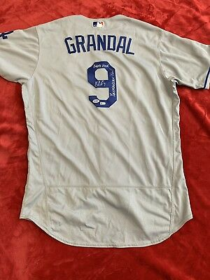 0824d70d1ff Rare Yasmani Grandal Autographed Inscribed Game Used Dodgers Jersey MLB PSA