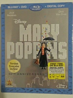 Mary Poppins (Blu-ray/DVD, 2013, 50th Anniversary Edition Includes Slipcover)