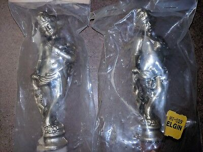Vintage LOT / SET of 2 Ansonia Bronze Cupid CLOCK SIDE PART Cast Figurine Elgin