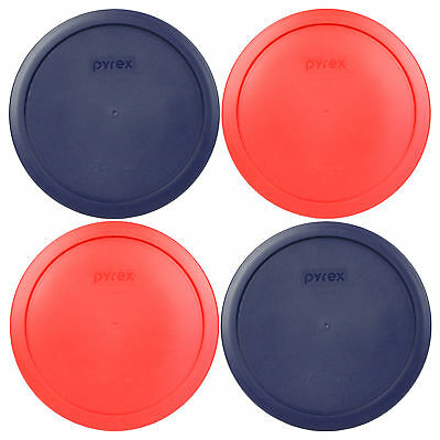 Pyrex 7402-PC 4PK 2-Blue and 2-Red 6 / 7 Cup Storage Lid Cover for Glass Bowls