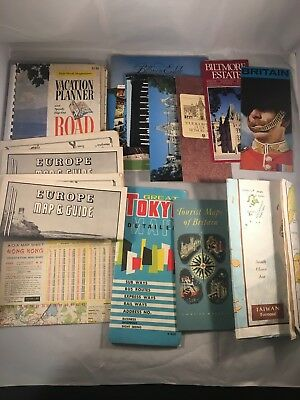 Vintage Huge Lot of Travel Maps ~ Pamphlets ~ Postcards ~ Airline Mags 1960's +
