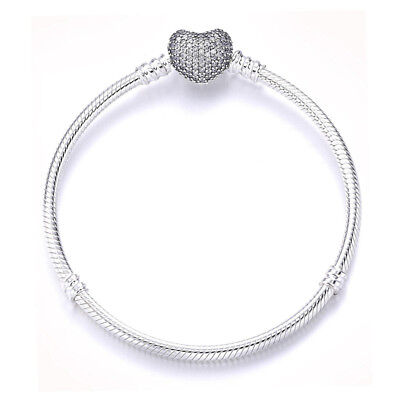 Pandora Silver 925 Smooth Sparkling Heart Moments Bracelet Charm Pouch Ear ring