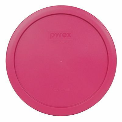 New Pyrex 7402-PC 6/7 Cup (1) Fuschia Pink & (1) Green Round Plastic Lid 2PK