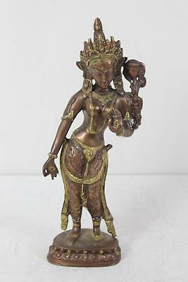 Vintage Brass The Thrice Bent Goddess Exotic Hindu Display Statue Figure
