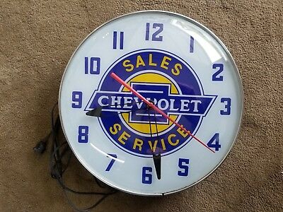 Chevrolet Sales Service 15 Inch Lighted Clock Works!