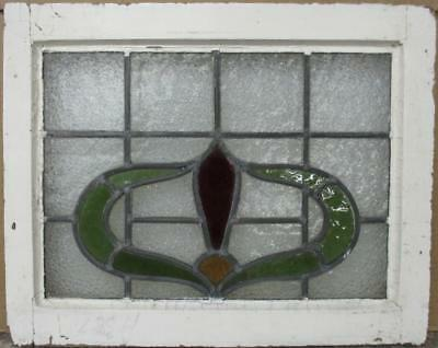 """OLD ENGLISH LEADED STAINED GLASS WINDOW Pretty Abstract Design 22"""" x 17.75"""""""