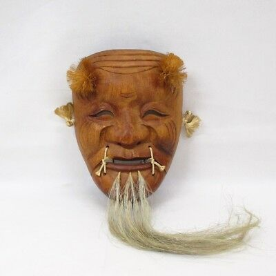 B624 Japanese Noh mask of wood carving of old man OKINA with very good work
