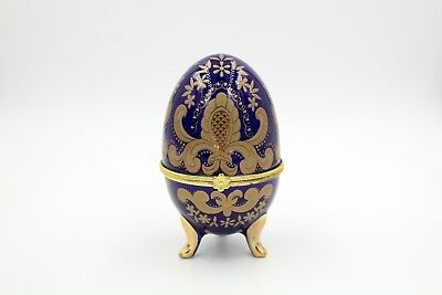 Royal Blue Gold Faberge Egg Porcelain