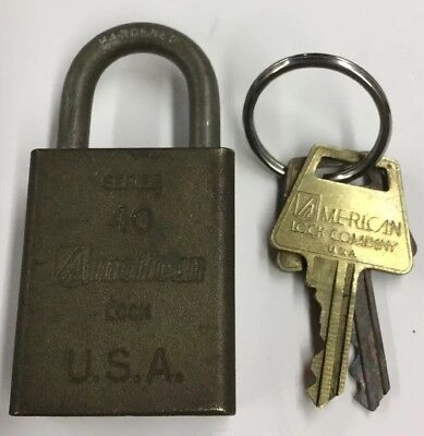 Vintage American Brass Lock Series 40 Working with 2 Key Hardened Bolt U.S.A.