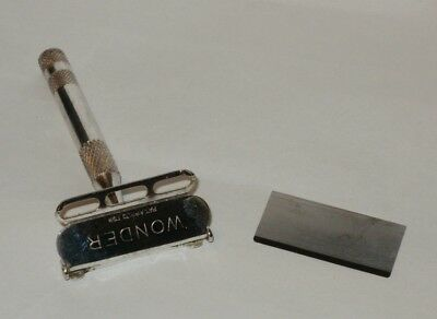 RARE Vtg Antique WONDER single edge Safety Razor with blade Pat. Appl'd For mark