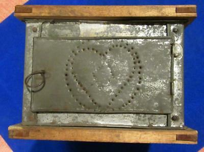 Antique Primitive  Country Wood & Tin Pierced Heart Foot Warmer