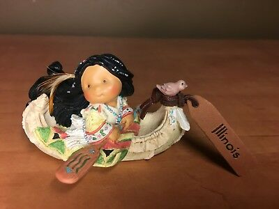 Friends of a Feather Illinois Canoe with Indian Girl Mini Figurine