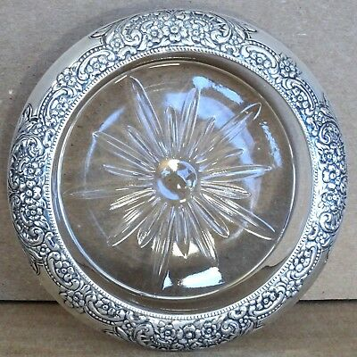 Vintage Frank M. Whiting Co Reposse Sterling & Glass Drink Coaster