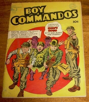 BOY COMMANDOS Comics #2 DC Simon & Kirby art classic HITLER cover LIBERTY BELLE
