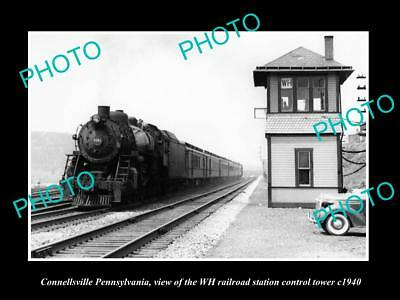 OLD LARGE HISTORIC PHOTO CONNELLSVILLE PENNSYLVANIA, RAILROAD DEPOT TOWER c1940