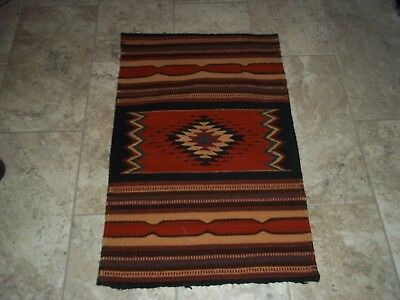 "Vintage Navajo Native American 24"" x 37"" Saddle Rug Blanket"