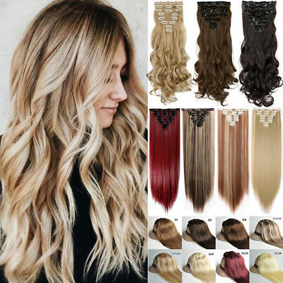 100% Mega Thick Clip In Hair Extensions Long As Human Full Head Hair Extention F