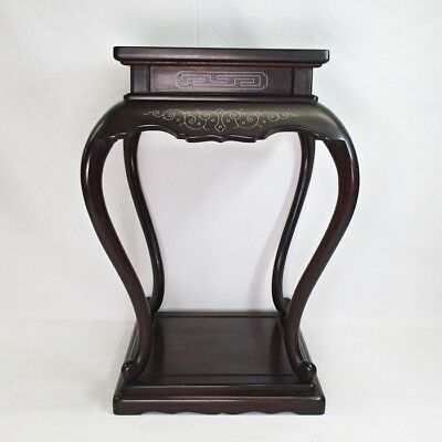 B539 Chinese tall decorative stand of quality KARAKI wood with silver inlay work