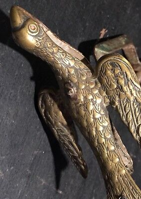 Antique Victorian SEWING BIRD CLAMP PIN CUSHION Iron and Brass PAINTED BREAST