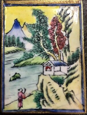 Old Chinese Matchbox Cover Hand Painted Enamel on Brass