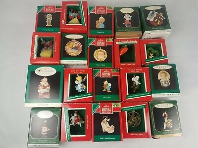 Hallmark Miniature Ornament Lot of 20 80's 90's Noel R.R. Bells Ski for Two Baby