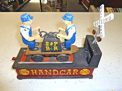 Vintage CAST IRON Railroad Mechanical HAND CAR COIN BANK