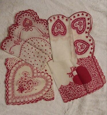 4 Vtg Hankies Red Hearts Roses Valentine's Day Excellent Condition Hand Painted