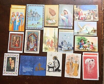 Lot Of 21 Vintage Religious Christmas Cards Nativity Holidays 60's - 70's