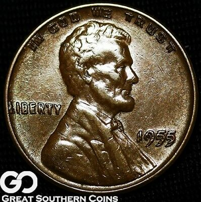 1955/55 DDO Lincoln Cent Wheat Penny, Doubled Die, Coveted BU++ Key Date ERROR!