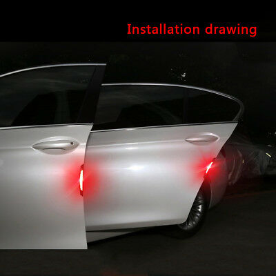 4x Red Safety Reflective Tapes Warning Car Door Sticker Accessory Carbon Fiber