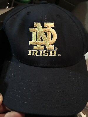 Notre Dame Snapback Adjustable Cap Hat Blue Fighting Irish American Needle EUC
