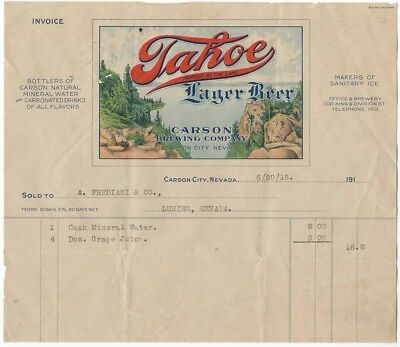 "1918 Carson Brewing Company ""Tahoe Lager Beer"" Receipt - nice graphics!"
