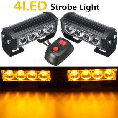 2x 4 LED 12V Amber Recovery Strobe Car Truck Flashing Emergency Grille Bar Light