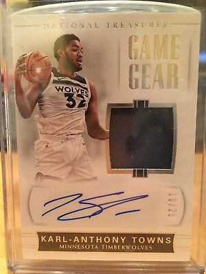Karl-Anthony Towns 2017 Panini National Treasures Game Gear Jersey Auto #10/25