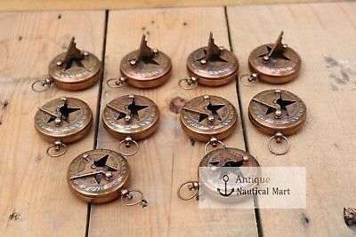 Lot Of 25 Pcs Antique Brass Sundial Push Button Compass