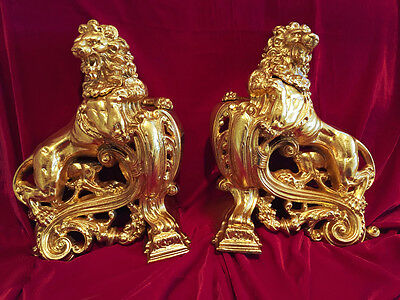 PAIR Antique FRENCH Majestic Empire Style Ormolu Bronze RAMPANT LION CHENETS